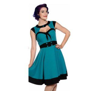NEW Banned Apparel Teal Black Clarissa Dress 12